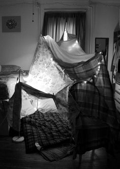Remembering days of old, building forts and fending off dragons.....  Now it would be nice to build one like kids again and lay in it with the one you love.