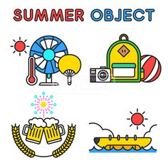 ILL195, 프리진, 일러스트, 여름, 계절, 시즌, 아이콘, 오브젝트, 단순, 심플, 더위, 무더위, 한여름, 모양, 세트, 묶음, 라인, 선, 시원한, 선풍기, 도구, 기계, 기기, 전자제품, 제품, 온도계, 부채, 태양, 햇빛, 해, 배, 보트, 바나나보트, 바나나, 선박, 구름, 날씨, 여행, 야외, 해변, 해변가, 바다, 휴식, 휴가, 바캉스, 휴양지, 여행지, 가방, 배낭, 카메라, 사진, 촬영, 비치볼, 공, 놀이, 맥주, 음료, 보리, 식물, 음식, 불꽃놀이, 이벤트, 폭죽, 교통, 공놀이, #유토이미지