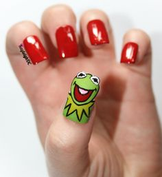 Kermit Nail Art - Take Two www.facebook.com/KayleighOCNailArt