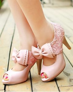 #Sweet Women's Peep Toed Shoes With #Bow and #Lace Design