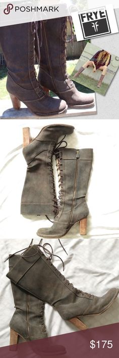 """•FRYE• Villager Lace Up Boots This style is discontinued & highly sought after. The espresso suede & wooden heel are factory distressed to give boots an aged-to-perfection appeal. - Frye - Size: 8 - Brass Zipper - Cushioned Insole - Original Retail: $398 • Measures: shaft height 