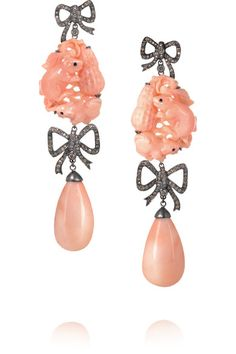 18k Blackened White Gold, Coral and Diamond Earrings by Lydia Courteille