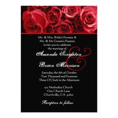 Red White Black Rose Bouquet Wedding Invitations