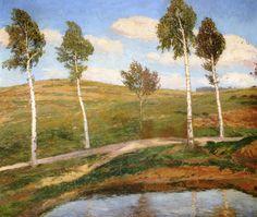 The Athenaeum - Road in Kameničky (Antonín Slavíček - ) Impressionist Paintings, Oil Paintings, Cold Mountain, Anton, Czech Republic, Past, Art Gallery, Illustration Art, Colourful Art