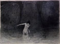 Alfred Kubin - Das Ei Der Krieg Sumpf Der Tmpel Alfred Kubin @ Wikipedia Illustrations for The Other Side Alfred Kubin, Art Sketches, Art Drawings, Yellow Art, Arte Horror, Macabre, Dark Art, Les Oeuvres, Painting & Drawing