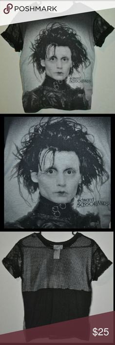 Edward Scissorhands Net Top ✂ ✂ ❤ Like New Condition - No Flaws - Size Medium // tags: goth gothic rebel alternative badass fishnet netting sheer tee tees tshirts t-shirt tops shirts shirt tim burton movies movie film films fan pretty beautiful statement statements beauty gorgeous black white gray grey punk rock cool neat rad awesome amazing incredible classic sleeves sleeve summer casual wear day night dark romantic love lovely depp face portrait intersting unique back different fun nice…