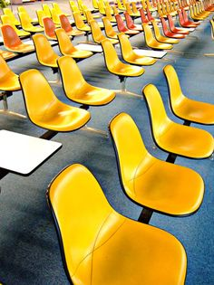 yellow Eames tandem seating