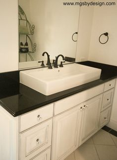 Gallery For Photographers Absolute Black aka Premium Black Absolute Premium Black Indian Premium Black Granite Bathroom vanity with Ogee Bullnose edge from MGS by Design