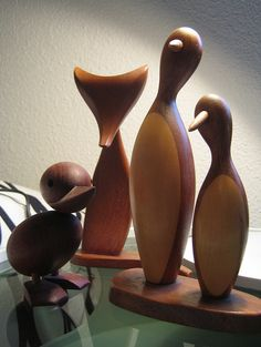 Vintage Mid Century wooden animals Pinguin Ente Fuchs Fox Duck