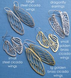 Silvery Cicada Line Earrings by sudlow on Etsy