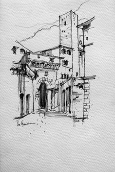 Ink Pen Drawings, Sketchbook Drawings, Art Sketches, Cityscape Drawing, City Drawing, Sketches Arquitectura, Watercolor Architecture, House Sketch, Building Art