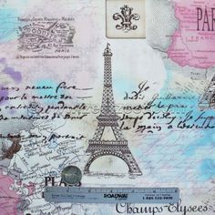 PARIS PASTEL COLLAGE- Springtime in Paris France French Cotton Quilt Fabric  #TimelessTreasures