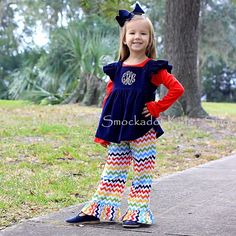 11/7/12  Rainbow Chevron Ruffle Pants Set
