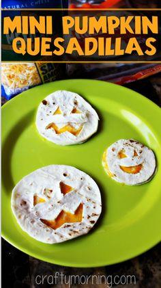 Mini Pumpkin Quesadillas For a Kid's Halloween Lunch #Halloween snack #Jack-o-lanterns   CraftyMorning.com