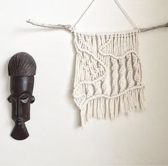This small wall hanging is hand-made by Hanifah Tohir in Sydney, Australia and is made to order. It is perfect to hang in a small room such as a bedroom or bathroom amongst other wall hangings as shown in image.   Measurement: Length 53cm Height 34cm