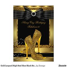 657858716130 Gold Leopard High Heel Shoe Black Birthday Party 4.5x6.25 Paper Invitation  Card Elegant