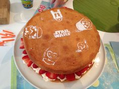A few Star Wars stencils turned this Victoria sponge with cream and strawberries into a birthday tea cake for a happy 7 year old boy!
