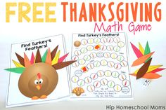 This Free Printable Thanksgiving Math Game is lots of fun for students from Pre-K to about 5th grade!