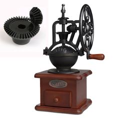 Vintage Grinder Manual Coffee Bean Grinding Retro Machine Handy Wooden Burr Mill
