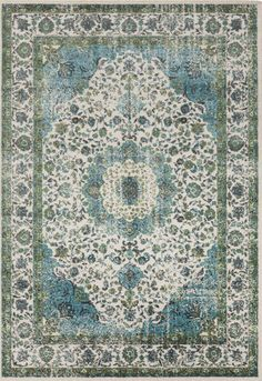 Gorgeous Surya rug in shades of teal and gray- perfect for tying color into a traditional space! (ABE-8004).