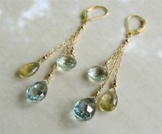 Topaz, Citrine and Green Amethyst briolette drops are delicate and feminine