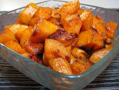 roasted sweet potatoes, sooooo good!!!  Great side dish while the meat's on the grill!  Great mashed/pureed as baby food!!