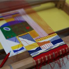 When I first saw Hannah Waldron's weavings, I immediately noticed how uniquely she echoed the pioneering work of Bauhaus weavers Anni Albers and Gunta Stolzl. They, too, ingeniously combined abstract, geometric grids with whimsical wisps of colorand vague allusions to landscapes and the tall chimne