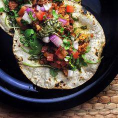 Taco night! With wild arugula, Serrano chili salsa and my own home madecpico de gallo as well as…