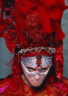 Red costume. Madonna in Christian Lacroix.
