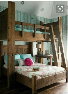 Bunk beds for kids and adults have become much popular nowadays, and quite . space for them to play or move around, particularly the l shaped bunk beds. This bunk bed. Home Bedroom, Bedroom Decor, Bedroom Ideas, Girls Bedroom, Master Bedroom, Headboard Ideas, Queen Bedroom, Queen Headboard, Bedroom Colors