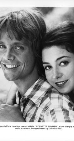 Mark Hammil and Annie Potts from Corvette Summer This is her very first movie 😎 Mark Hamill Luke Skywalker, Annie Potts, Corvette Summer, Classic Comedies, Star Wars Poster, Guy Names, Teenage Mutant, Brad Pitt, Great Movies