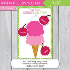 Pin the Cherry on Top Ice Cream Shop Party Printable by printmagic