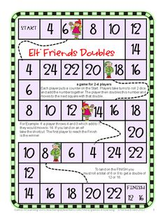 Elf Friends Doubles Math Board Game from Christmas Math, Games, Puzzles and Brain Teasers - a collection from Games 4 Learning. It is loaded with Christmas math fun. $