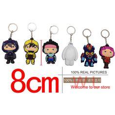 Big Hero Baymax soft keychain Six Heroes anime pendant jewelry ideas 6 pcs