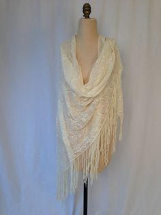 DELICATE GYPSY Boho Cream SHAWL by HousewifeVintage on Etsy, $29.00