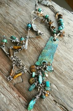 Teal Turquoise Brown Ancient Shard Pendant Metalwork Patina Sterling Silver Rustic Gemstone Boho Necklace
