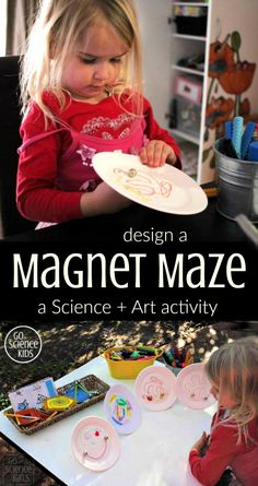 Design a Magnet Maze: a science + art (or STEAM) activity for kids to learn about physics and how magnetic force works through play. Fun creative project children can do at home (or at school). From Go Science Kids. Math Activities For Kids, Steam Activities, Therapy Activities, Kids Learning, Cool Science Experiments, Science Art, Science For Kids, Stem For Kids, Diy For Kids