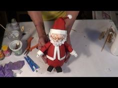 DIY - Como fazer um Papai Noel com material reciclado - How to do Santa Claus whis recycled material - YouTube