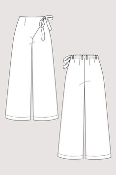 Astrid Wrap Pants Sewing Pattern by Named Clothing Sewing Hacks, Sewing Tutorials, Sewing Tips, Sewing Patterns Free, Clothing Patterns, Clothing Templates, Pattern Sewing, Named Clothing, Marlene Hose
