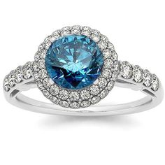 1.75CT Blue Diamond Vintage Halo Engagement Ring by Pompeii3