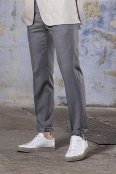 pantalone - Pini Parma Master Tailor, Pantalon Costume, White Trousers, Types Of Shoes, Cotton Canvas, Bordeaux, How To Make, How To Wear, Normcore