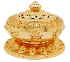 Gold plated round #incense #burner has the 8 Auspicious Symbols around it. 10cm in diameter. #buddhism