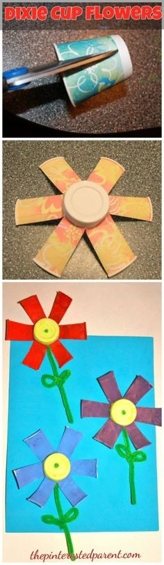 Dixie Cup Flower Craft - spring and summer arts and crafts for kids
