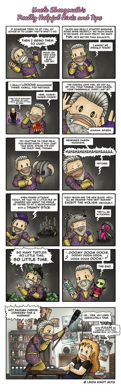 Just a little tribute to one of my favorite Skyrim mods called Uncle Sheogorath's Really Helpful Hints and Tips created by tumbleworld. Uncle Sheogorath's Really Helpful Hints and Tips Skyrim Comic, Skyrim Game, Skyrim Funny, Skyrim Mods, Elder Scrolls Games, Elder Scrolls Skyrim, Elder Scrolls Online, Video Games Funny, Funny Games