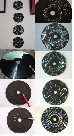 Cd pintados con tinta china y remarcados con punzon.