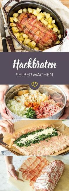 Ich glaub' es hackt – so schnell und einfach bereitest du Hackbraten zu Which ingredients you need, how to make it and which tricks make it extra salty – here you'll find everything you need to know about meatloaf. Meat Recipes, Cooking Recipes, Healthy Recipes, Soul Food, Food Inspiration, Bacon, Clean Eating, Food Porn, Food And Drink