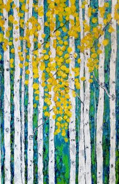 Aspen  Birch Tree Original Acrylic Painting 24 x 36 by VickisArt, $325.00