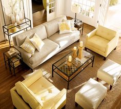 Buttery yellow living room