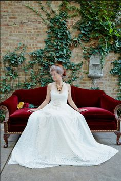 Ivory Flower Eyelet Wedding Gown made to order by AmandaArcher