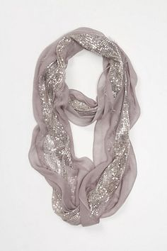 Shimmering Taupe Silver Scarf